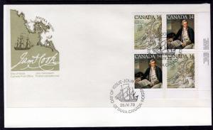 Canada 764a Captain Cook Plate Block Canada Post U/A FDC