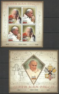 PE530 2013 MADAGASCAR GREAT HUMANISTS TRIBUTE TO POPE JOHN PAUL II KB+BL MNH