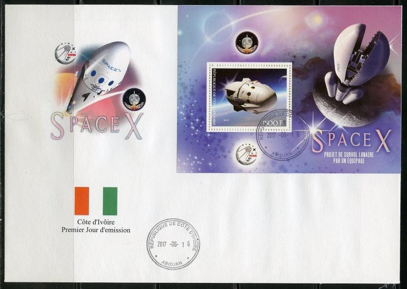 IVORY COAST 2018  SPACEX LUNAR SURVIVAL PROJECT SET  DELUXE S/S  FDC