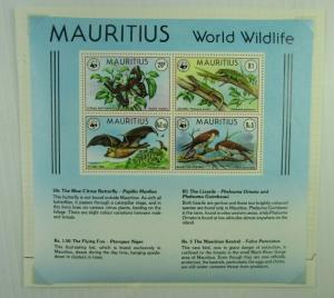 Mauritius SC #472a WORLD WILDLIFE Fox Kestrel Butterfly Geckos   MNH SS