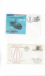 US Navy USS Pensacola LSD 38, 2 Covers, Commission/Keel