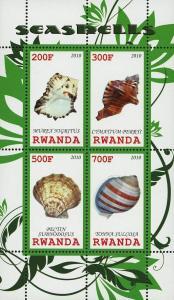 Rwanda  Seashell Ocean Fauna Souvenir Sheet of 4 Stamps Mint NH