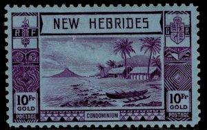 NEW HEBRIDES GVI SG63, 10f violet/blue, M MINT. Cat £225.