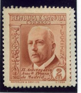 SPAIN;  1936 Madrid Press Anniversary issue fine Mint hinged 2c. value