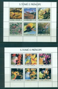 Sao Tome & Principe - Sc# 1487-8. 2003 Birds. MNH Set of 2 Mini Sheets. $24.50.