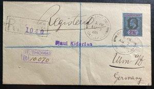 1914 Road Town Leeward Island Registered Cover To Ulm Germany Via Usa SG# 44
