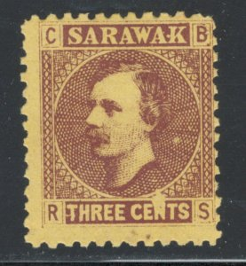 Sarawak 1871 Sir Charles Johnson Brooke 3c Scott # 2 MH NG