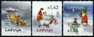 Latvia Christmas Stamps 2020 MNH Father Christmas Trees Santa Reindeer 3v SA Set