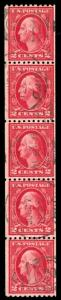momen: US Stamps #488 Used Coil Strip of 5 VF/XF