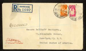 SOUTH AFRICA 1944 1d Nurse & 6d Welder Sc 91a,96a REG SEAMAIL JOHANNESBURG Cover