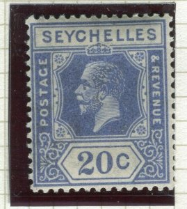 SEYCHELLES ; 1922 early GV issue fine Mint hinged Shade of 20c. value