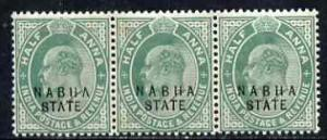 Indian States - Nabha 1903-09 KE7 1/2a green strip of 3, ...