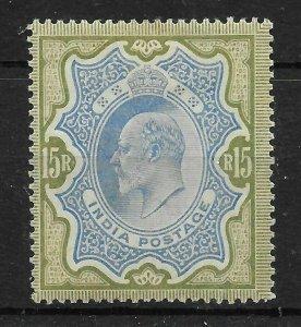 INDIA SG146 1909 15r BLUE & OLIVE-BROWN MTD MINT
