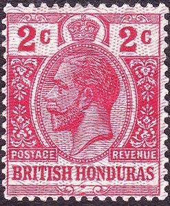 BRITISH HONDURAS 1915 KGV 2 Cent Scarlet SG112 MH