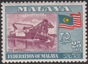 Federation of Malaya 1957 MH Sc #82 25c Tin dredge, flag
