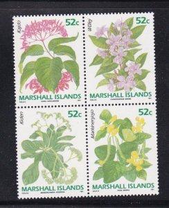 Marshall Islands 395-398, MNH Block of 4 - Flowers