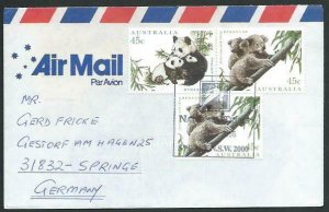 AUSTRALIA 1996 cover to Germany - nice franking - Sydney pictorial pmk.....14712