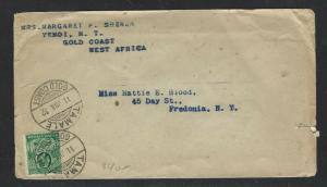GOLD COAST (PP0103B)  1932 KGV 1D COVER FROM TAMALE (HOT?) TO USA