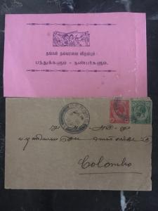 1921 Penang Straits Settlements Cover To Colombo Sri Lanka 1 Enclose