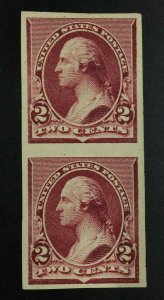 MOMEN: US STAMPS #219DP5 IMPERF PAIR PROOF LOT #55285