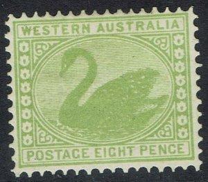 WESTERN AUSTRALIA 1902 SWAN 8D WMK V/CROWN PERF 12.5