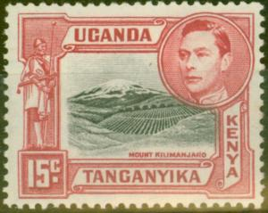 KUT 1938 15c Black & Rose-Red SG137 P.13.25 Fine Mtd Mint