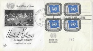 United Nations, New York #9, Art Craft, inscription block of 4, plate #