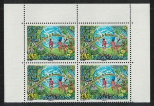 New Caledonia Butterfly Deer Flowers New Year Top Block of 4 SG#1429 MI#1451