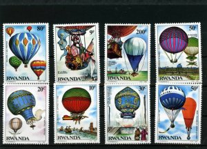 RWANDA 1984 Sc#1183-1190 AVIATION/BALLOON SET OF 8 STAMPS MNH