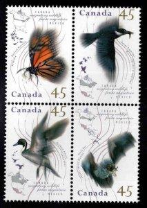 Canada Scott 1563, 1565-1567a MNH** Migratory Wildlife block corrected