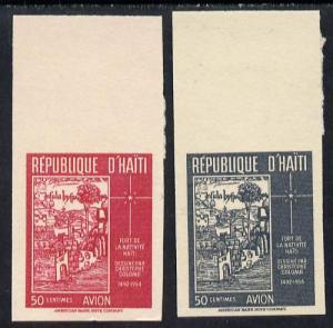 Haiti 1954 Air pair (Columbus's Drawing of Fort) set of 2...
