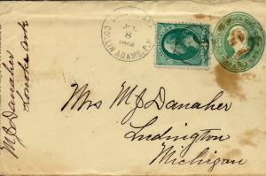 US LONOKE, AR 7/8/1883 6C UPRATED STATIONERY COVER TO LUDNIGTON, MI AS SHOWN