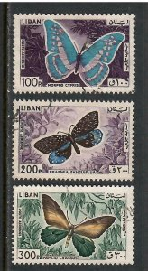 Lebanon Airmail # C433 to # C435 , Butterflies & Moths F-VF used  I Combine S/H