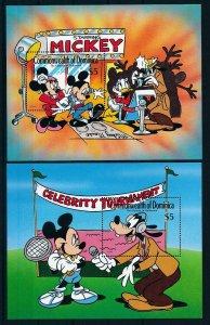 [105800] Dominica 1989 Disney Hollywood Mickey Donald Goofy 2 Souv. Sheets MNH