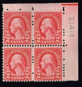 US STAMP #634 – 1926-28 2c Washington, carmine MNH/OG BLK OF 4