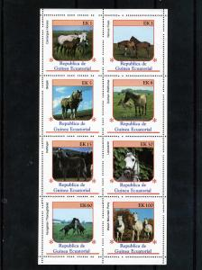 Equatorial Guinea 1976 HORSES Sheet (8) Perforated Mint (NH)