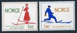 Norway 647-648,MNH.Michel 695-696. Norway,Homeland of skiing,1975.