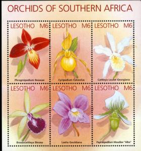 LESOTHO 1323 MNH S/S SCV $12.00 BIN $7.00 ORCHIDS & FLOWERS