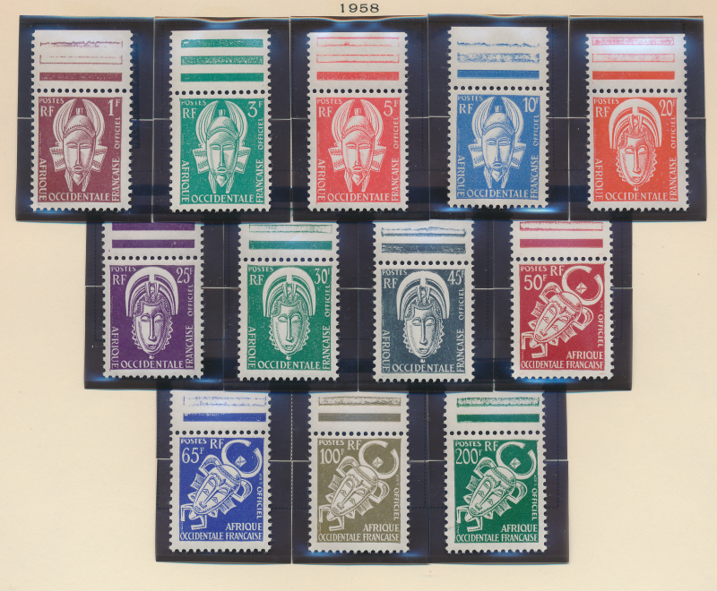 French West Africa Stamp Scott #O1-12, Mint, Never Hinged Stamps, Hinged Labe...