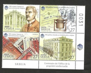 SERBIA-MNH BLOCK OF 4-100th ANNIVERSARY OF THE INTELLECTUAL PROPERTY OFFICE-2020