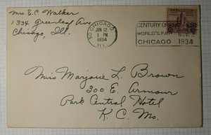 Chicago Worlds Fair 729 Century of Progress Ad Slogan Cancel Cover 1939 Not FDC