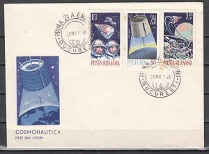 Romania, Scott cat. 1764-1766. American & Russian Space. First day Cover. ^