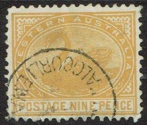 WESTERN AUSTRALIA 1905 SWAN 9D WMK CROWN/A UPRIGHT PERF 12.5 USED