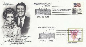 RONALD REAGAN - GEORGE BUSH INAUGURATION 1985 - Dual cancels