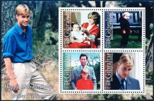 Gibraltar MNH S/S 845a Prince William's 18h Birthday 2000