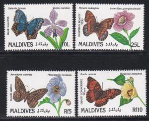 Maldive Islands # 1563-1564, 1568, 1570. Buterflies & Flowers, NH, 1/2 Cat.