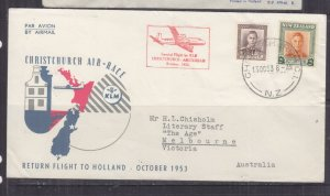 NEW ZEALAND, 1953 KLM, return Air Race Flight cover to Netherlands..