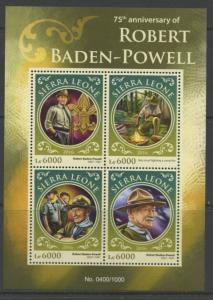 SIERRA LEONE  2016 75th MEMORIAL ANNIVERSARY OF ROBERT BADEN-POWELL SHT  MINT NH