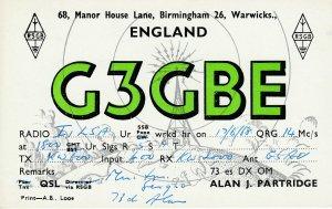 9696 Amateur Radio QSL Card WARWICKS ENGLAND