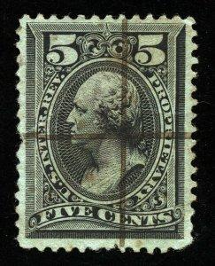 B286 U.S. Revenue Scott RB16b 5-cent Proprietary wmk, manuscript cancel SCV=$125